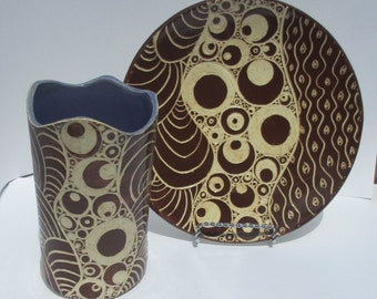 Ceramic carved round plate or platter sgraffito white and red-brown hand made