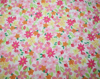 "Lilly Pulitzer fabric ~ WHITE LADY LIKE~ 18"" by 18""~ 100% Cotton"