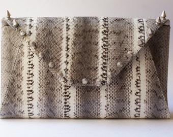 Natural python purse with spikes