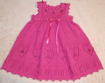 """Hand Knitted & Decorated Pink Cotton Baby Dress. """"Hearts"""""""