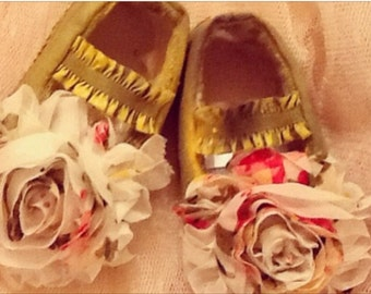 Newborn yellow shabby chic shoes
