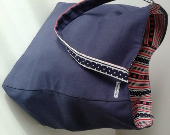 Tote Bag - Navy, Red & White Reversible .