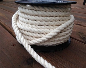 100% Cotton Rope Cord - White/Natural - 5 YARDS