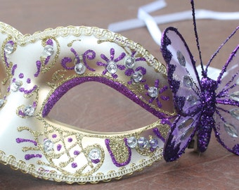 Purple and Gold Jewelled Masquerade Mask with Large Purple Butterfly