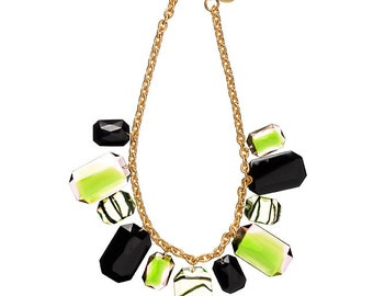 Faceted Octagons Necklace - Green