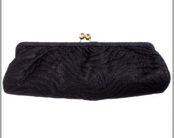 Black Zebra Linen Clutch