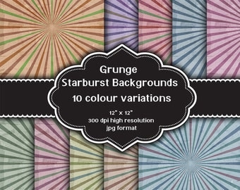 INSTANT DOWNLOAD - Collection of digital grunge starburst backgrounds with ten different colour variations