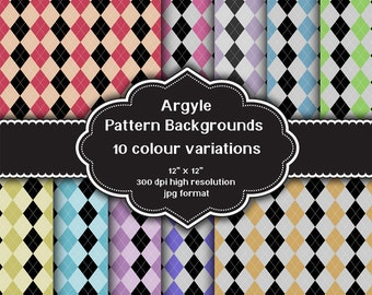 INSTANT DOWNLOAD - Collection of digital Argyle pattern backgrounds with ten different colour variations