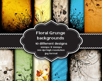 INSTANT DOWNLOAD - Collection of digital floral grunge backgrounds with 10 different designs