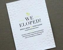 Modern Elopement  Announcement  // Blind Embossed Letterpress Invitations // Qty 20