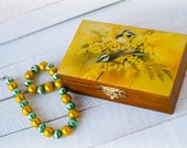 Yellow Jewelry box,  Wooden box, Blue tit bird, Sea buckthorn, Jewelry storage, Glossy box, Rustic box, Yellow, Stained wood