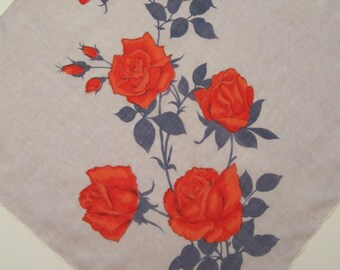 Vintage Colette Signed Rose Floral Print Hankie Highly Collectible 117
