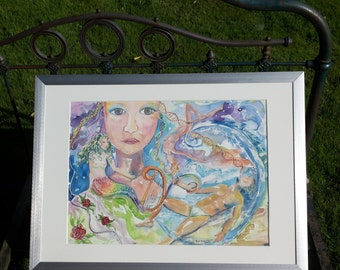 Watercolor * ' It is out of this world '/washed up man/Mermaid/DNA guidelines/Naked man/sea/Golf/Harp/Lorelei/Enchant