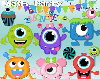 Monster Mash Party Digital Clipart - Clip art for scrapbooking, party invitations - Instant Download Clipart Commercial Use