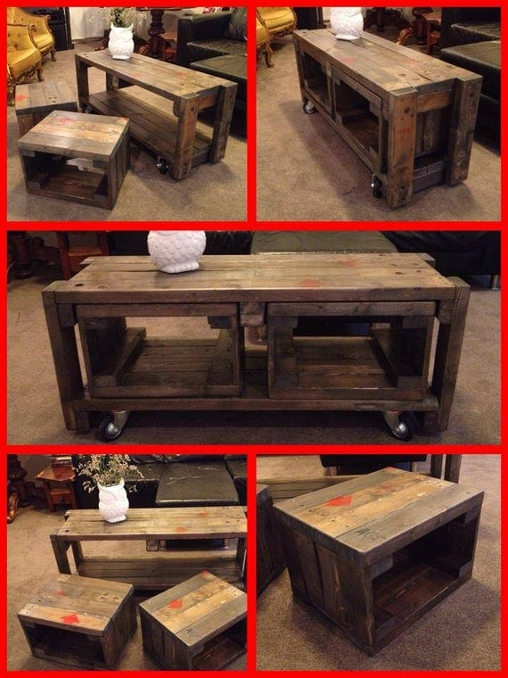 Industrial Pallet Coffee Table Nest 3 Tables In 1