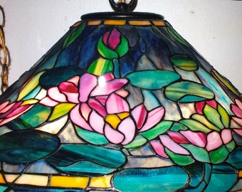 Lamp Shades Tiffany Style: Tiffany Style Water Lily Stained Glass Lamp Shade, One of a Kind! Art Deco,  Art Nouveau,Lighting