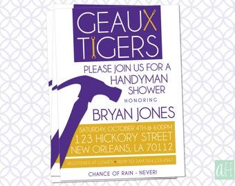 Printable Handyman Invitation: Geaux Tigers Purple & Gold theme