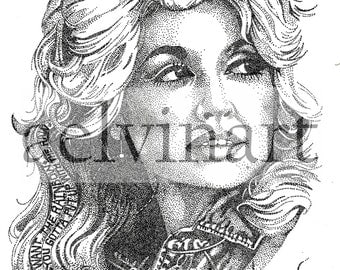 Dolly Parton - Limited Edition Pointillism Giclee Print