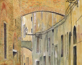 "Greetings card: ""Siesta"" - landscape card, Italian street scene, old buildings, deserted street,Tuscany, from a painting by Dave Marsh"