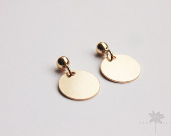 Small 14ct gold filled circle disc geometric drop dangle stud earrings