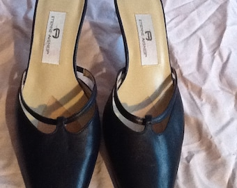 FINAL Navy Leather Etienne Aigner Mules 8 1/2N