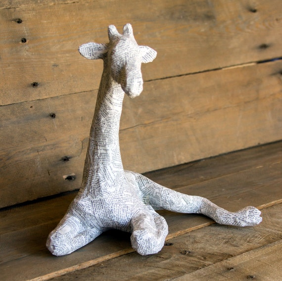 paper mache animal sculpture sitting giraffe by paperunleashed