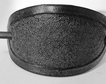 Black Oxide Oval Leather Barrette