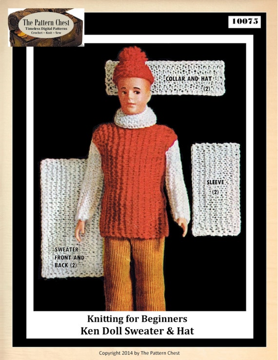 Vintage Knitting Pattern Ken Doll Size 12.5 Inches Hat ...