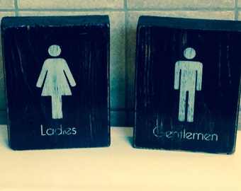 Ladies & Gentlemen restroom wood signs, bathroom decor