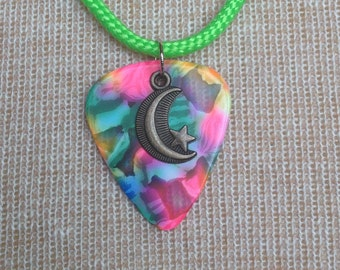Guitar Pick with Moon/Star Charm Necklace