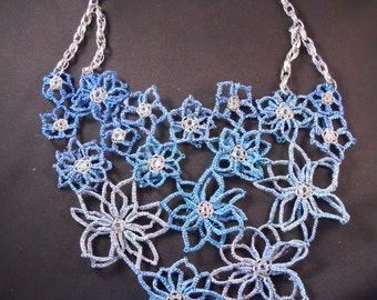 Blue Flowers Tatted Bib Necklace