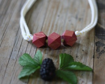 Blackberry Geometric Wood Bead Necklace // Nursing, Breastfeeding, Eco Fashion, Organic, Hand dyed