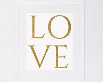 Gold love printable wall art, gold glitter typographic print,golden love poster, printable love design, instant download, love typography
