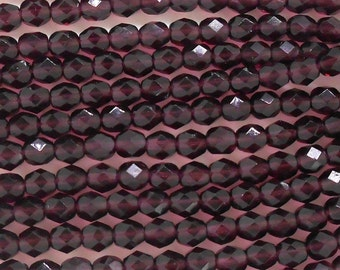 25 6mm Czech glass amethyst purple firepolished faceted round beads C2625 to 11/03/15, C3425