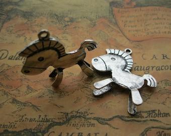 5 pcs 36x35mm Antique Silver Horse Trojan Horses Double Sided Charms Pendants M