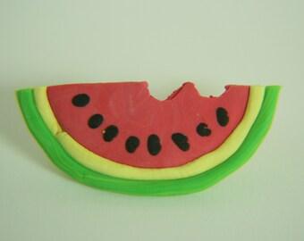 Watermelon pin, polymer clay, handmade