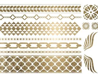 Geometric Jewelry, Geometric Temporary Tattoos, Geometric BraceletsTattoos, Geometric Metallic Tattoos, Gold Geometric Jewelry Gold Bracelet
