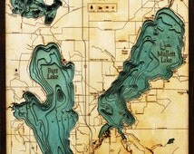 Wood Chart of Burt & Mullet Lakes, Michigan, 24.5x31 - Large