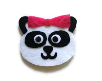Panda with Hair Bow Iron On Patch - No Sew - Felt