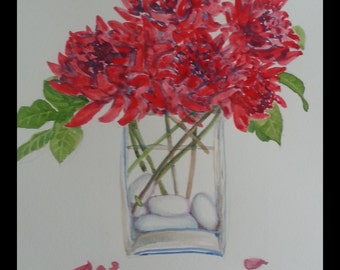 Original Water color painting, Red flower in vase 11.5x9.5 in, red, flower, green, stone