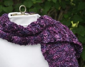 Hand-knit, Textured, Deep Purple, Wool Scarf; Chunky Merino Wool Scarf; Artisan-dyed & knit; Perfect Gift for Mom