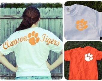 Clemson Jersey Tee Shirt ~ Long or Short sleeve ~ Orange or White~ Tigers~ Monogram or not