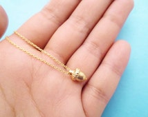 Tiny, Gold, Acorn, Necklace, Cute, Minimal, Dainty, Necklace, Small, Acorn, Jewelry, Acorn, Birthday, Friends, Gift, Accessories, Necklace