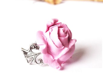 Pink Rose Ring ( pink ring rose ring filigree ring rose jewelry pink rose flower ring filigree rose ring adjustable ring bridesmaid ring )