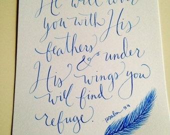 "Hand-Lettered Psalm 91:4 9""x12"" Scripture Art"