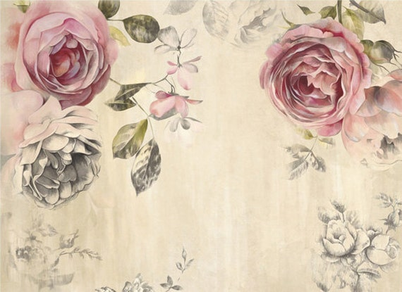 vintage rose wallpaper poetry flowers wall decal art bedroom