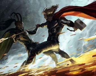 Thor And Loki Finghting Paiting Silk Poster 40""