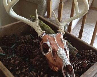 Deer Skull / Rhinestone / European Mount / Rustic Home Decor /