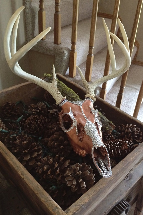 Deer Skull Rhinestone European Mount Rustic Home Decor