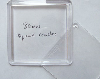Acrylic 80mm Square Coaster blank in two parts for mounting some of my cross stitch designs, a photo or other craft work.